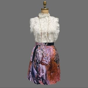 Gorgeous horse art print skirt Ayaat Vida Runway